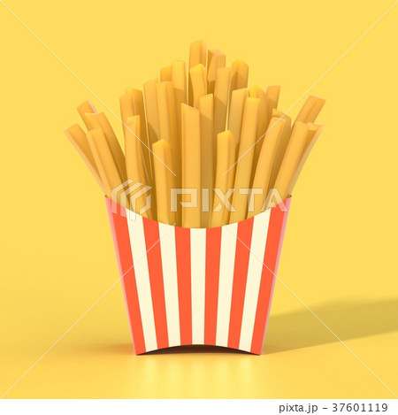 Fast food french fries in a container 37601119