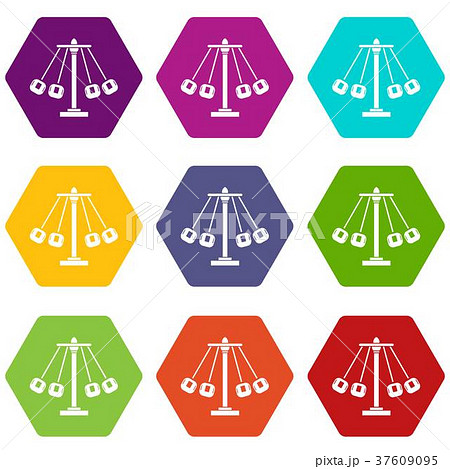 carnival swing ride icon set color hexahedronのイラスト素材