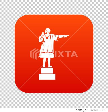 Columbus monument icon digital red 37609956