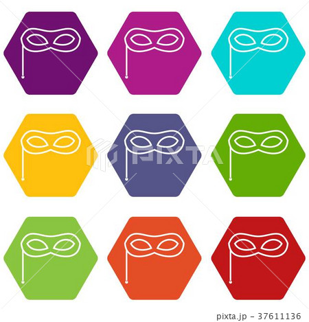 carnival mask icon set color hexahedronのイラスト素材 37611136 pixta