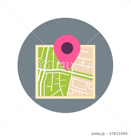 Map With Pointer Pin Icon Travel Destination 37625005
