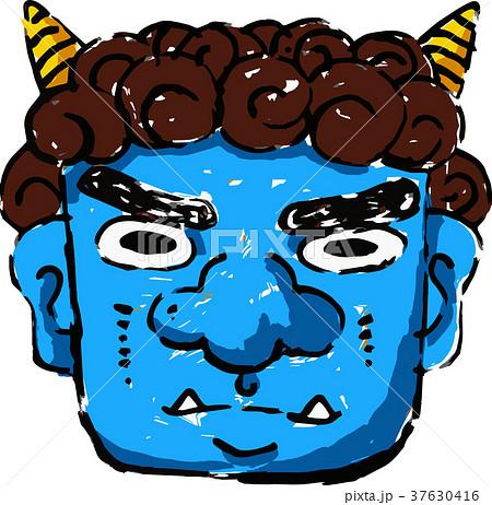 怖い青鬼の顔のイラスト素材 37630416 Pixta