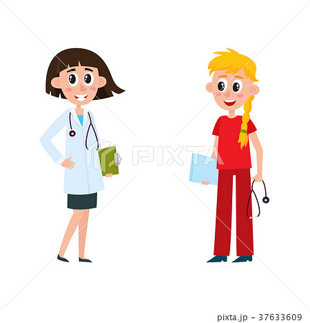 vector flat female doctor, nurse characters 37633609