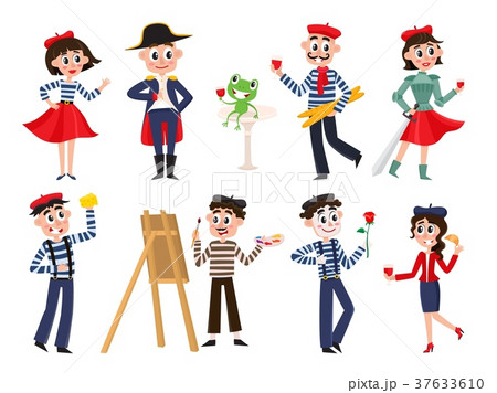 vector flat french culture, fashion people set 37633610
