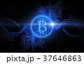 blue bitcoin projection over black background 37646863