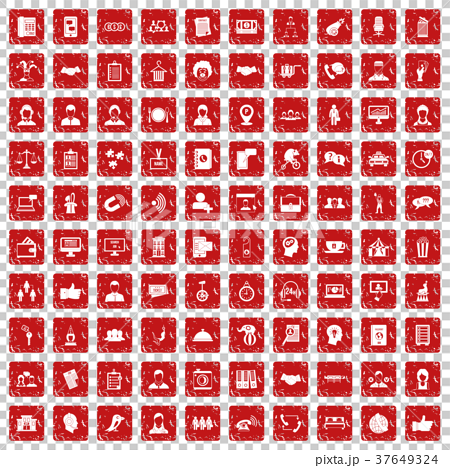 100 coherence icons set grunge red 37649324