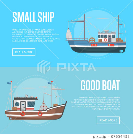 fishing business flyers with small boatsのイラスト素材 37654432
