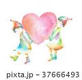 ハート 小人 カラフルのイラスト 37666493