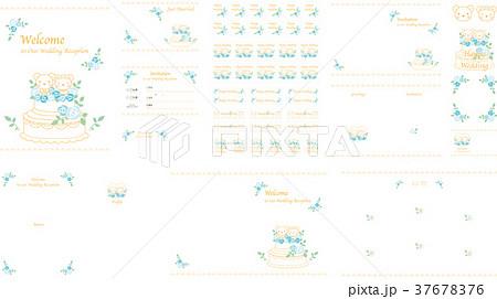 ウエディング素材セット(クマ 黄色) 37678376