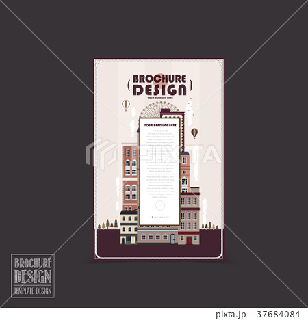 adorable city scenery brochure templateのイラスト素材 37684084 pixta
