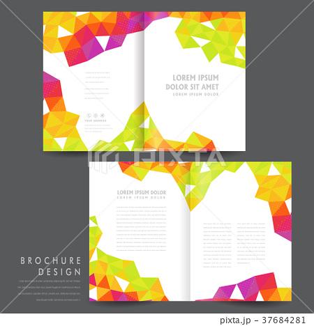 attractive half fold brochure template designのイラスト素材