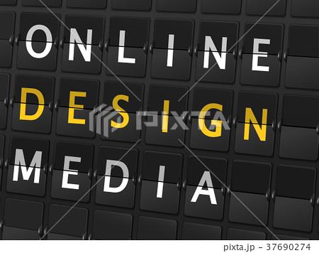 online design media words on airport boardのイラスト素材 37690274