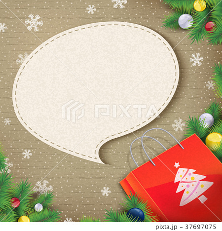 blank speech bubble came out from Christmas bag 37697075