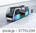 自動運転 バス 乗り物のイラスト 37701294