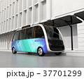 自動運転 バス 乗り物のイラスト 37701299