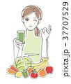 スムージー 野菜 果物 女性 <緑> 37707529