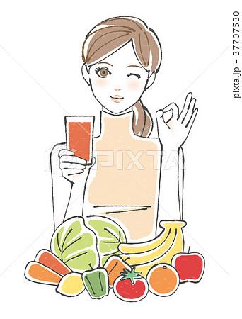 スムージー 野菜 果物 女性 <オレンジ> 37707530