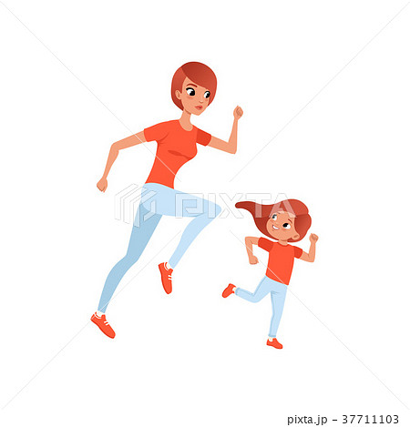 Mother and her little daughter on morning jogging 37711103