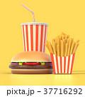 ハンバーガー バーガー フレンチのイラスト 37716292