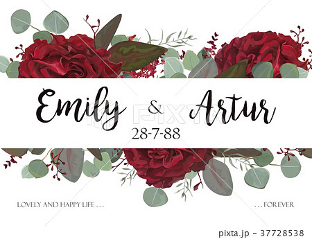 Wedding invite, save the date card. Red flowers 37728538