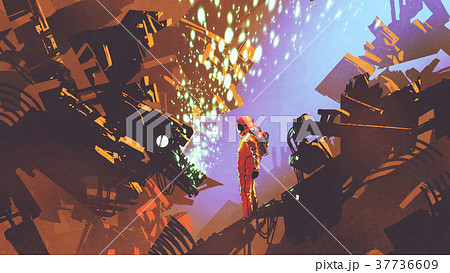 astronaut standing in front of control panel 37736609