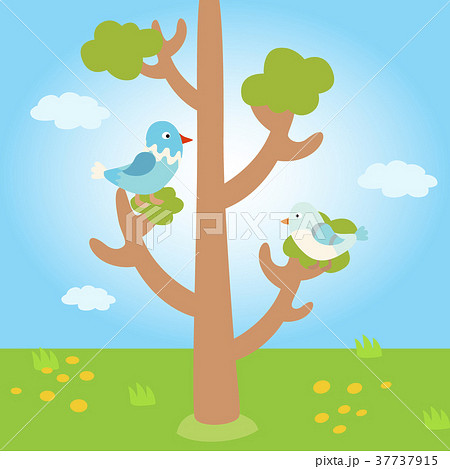 Two lovely birds spring card with tree and couple 37737915