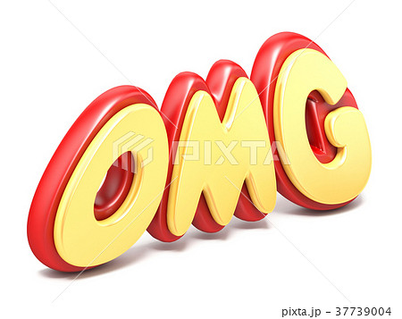 Word OMG twisted red and yellow ground reflection 37739004