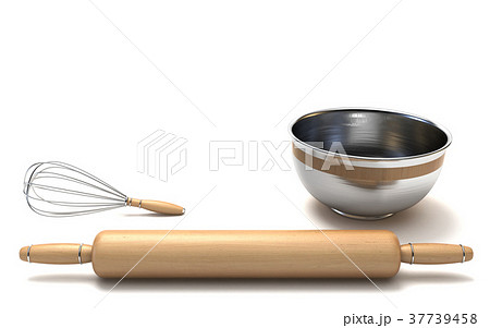 Wire whisk, wooden rolling pin and chrome bowl 3D 37739458