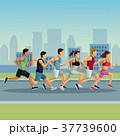 マラソン マラソン大会 都会のイラスト 37739600
