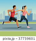 マラソン マラソン大会 都会のイラスト 37739601