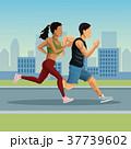 マラソン マラソン大会 都会のイラスト 37739602