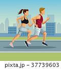 マラソン マラソン大会 都会のイラスト 37739603