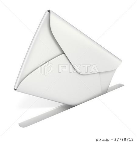 Blank white envelope falls into the slot 37739715