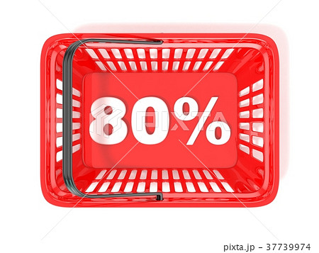 80 percent discount tag in red shopping basket. 3D 37739974