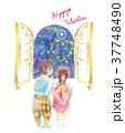 バレンタインデー 子供 窓のイラスト 37748490