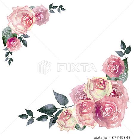 薔薇 フレーム 水彩 イラストのイラスト素材 37749343 Pixta