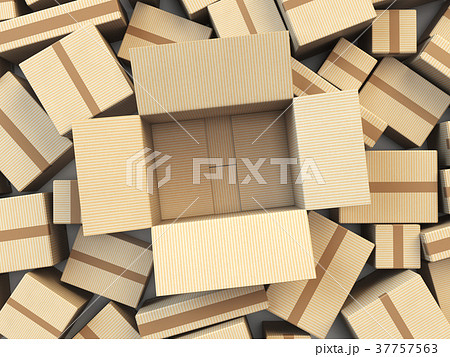 Open empty cardboard box Isolated on white 37757563