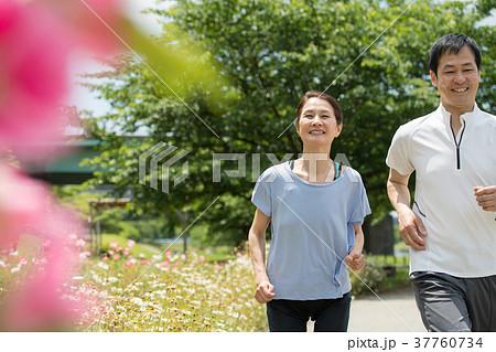 ジョギング 夫婦 ミドル ウォーキング イメージ 37760734