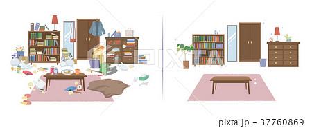 汚部屋女性のイラスト素材 37760869 Pixta