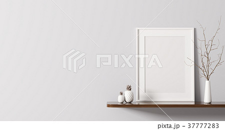 Shelf with poster 3d rendering 37777283