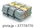 Stacks of new 100 US dollar banknotes 37778770