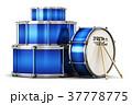 Blue drum set with drumsticks 37778775