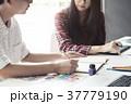 Artist creative graphic designer team talking. 37779190