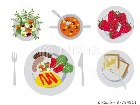 朝食のクリップアートオムレツ食べ物のイラスト素材 37784911