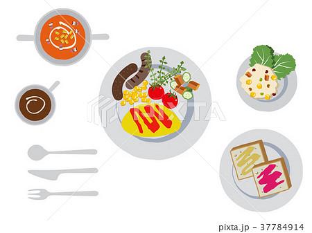 朝食のクリップアート。オムレツ。食べ物。 37784914