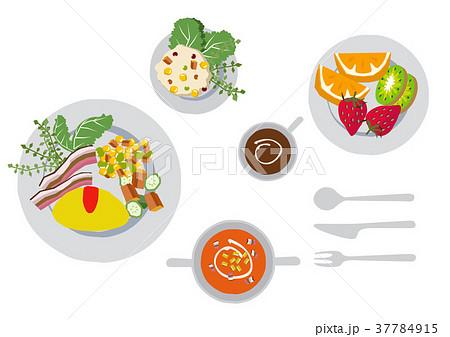 朝食のクリップアート。オムレツ。食べ物。 37784915