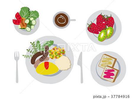 朝食のクリップアートオムレツ食べ物のイラスト素材 37784916