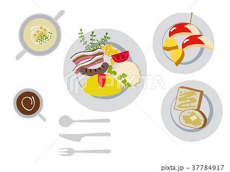 朝食のクリップアート。オムレツ。食べ物。 37784917