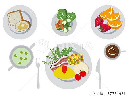 朝食のクリップアート。オムレツ。食べ物。 37784921