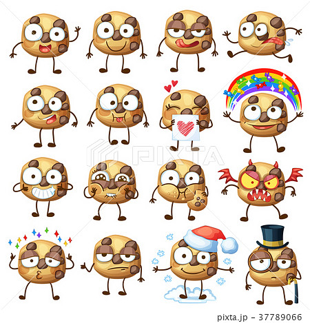 Cartoon Choc Chip Cookie Characters Illustration 1のイラスト素材